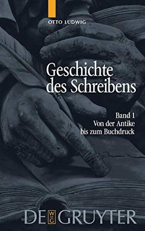 Otto Ludwig. Otto Ludwig: Geschichte des Schreibens / Von der Antike bis zum Buchdruck. De Gruyter, 2005.