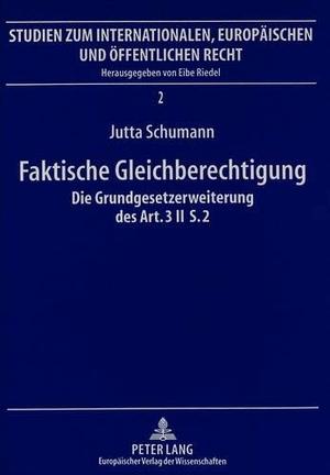 Schumann, Jutta. Faktische Gleichberechtigung - Di