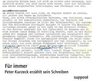 Peter Kurzeck / Klaus Sander / Peter Kurzeck / Klaus Sander. Für immer - Peter Kurzeck erzählt sein Schreiben. supposé, 2016.