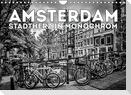 AMSTERDAM Stadtherz in Monochrom (Wandkalender 2022 DIN A4 quer)