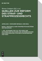 Sitzungen vom Juli 1927-März 1928. Sitzungen der deutschen und österreichischen parlamentarischen Strafrechtskonferenzen (1927-1930)