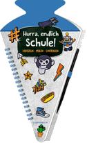 Schultüten-Kratzelbuch - Funny Patches - Hurra, endlich Schule! (blau)