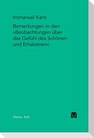 """Bemerkungen in den """"Beobachtungen über das Gefühl des Schönen und Erhabenen"""" (1764)"""