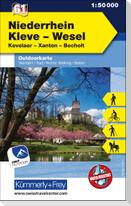 KuF Deutschland Outdoorkarte 61 Niederrhein, Kleve-Wesel, Kevelaer, Xanten - Bocholt  1 : 50 000 LZ bis 2025
