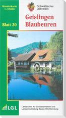 Karte des Schwäbischen Albvereins 20 Geislingen - Blaubeuren 1:35.000