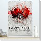 Farbspiele - Akt im Rausch der Farben (Premium, hochwertiger DIN A2 Wandkalender 2022, Kunstdruck in Hochglanz)