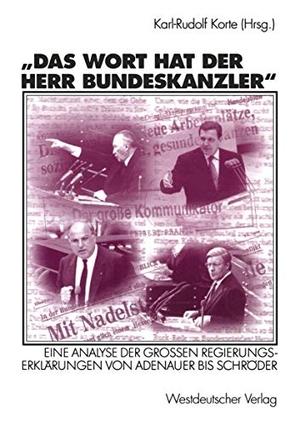 Karl-Rudolf Korte. Das Wort hat der Herr Bundeskanzler - Eine Analyse der Großen Regierungserklärungen von Adenauer bis Schröder. VS Verlag für Sozialwissenschaften, 2002.