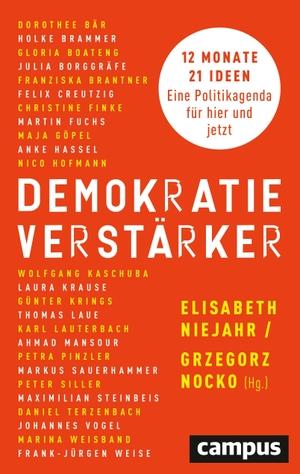 Niejahr, Elisabeth / Grzegorz Nocko (Hrsg.). Demokratieverstärker - 12 Monate, 21 Ideen: Eine Politikagenda für hier und jetzt. Campus Verlag GmbH, 2021.